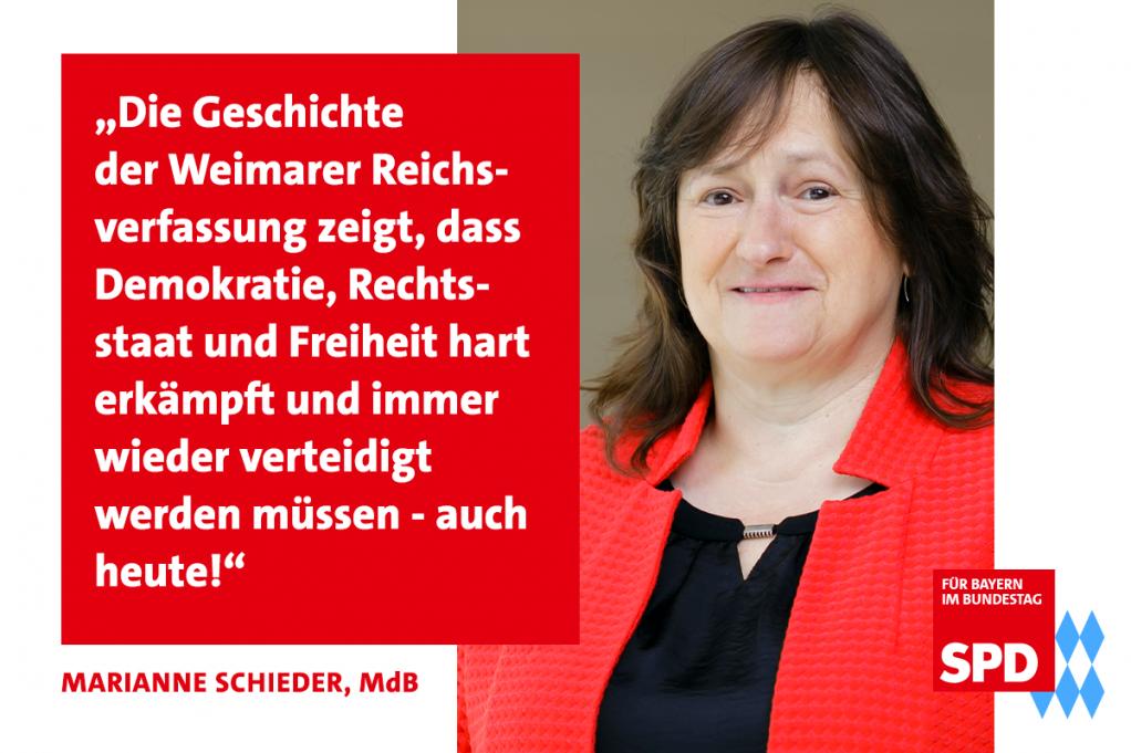 MdB Marianne Schieder setzt sich für die Verteidigung der Demokratie ein