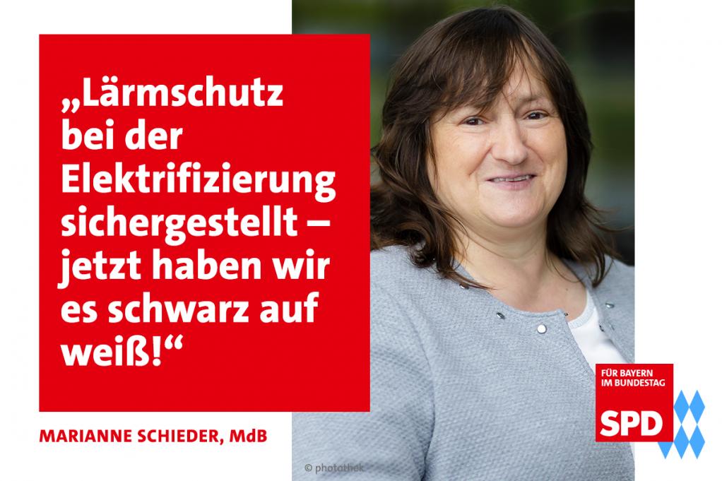 MdB Marianne Schieder freut sich über den Lärmschutz bei der Elektrifizierung